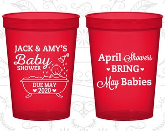Spring Baby Shower Cups, Baby Shower Stadium Cups, April Showers bring May Babies, Baby Shower Favor Cups (90181)