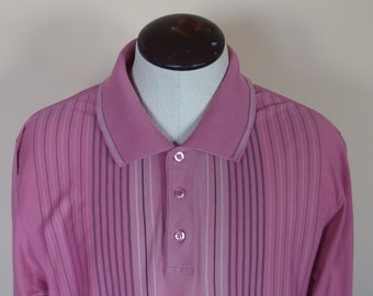 Mens Vintage Knit Polo Shirt ,  Placket Collar 3 buttons Long Sleeve