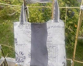 Bag, association leather and gray printed fabric