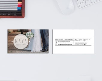 Maya minimal double sided business card - Instant download