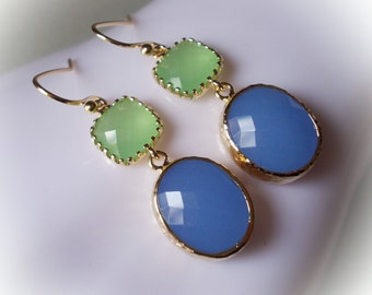 Earrings in gold Periwinkle blue royal blue and peridot green glass drop earrings gold framed glass jewels for women girl spring summer