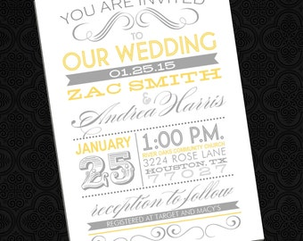 Fun Fonts - Poster Style Wedding Invitation (Printable)