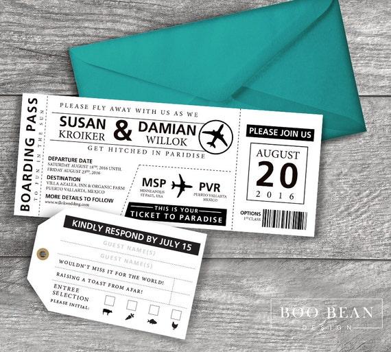 Destination Boarding Pass Invitation Printable Invitation