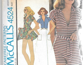 Vintage McCalls 4524 Misses Romper Jumpsuit Front Wrap Skirt Sewing Pattern Size 10 Bust 32 1/2