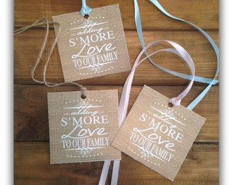 "Smore (s'more) love to our family burlap baby shower favor tag 3"" x 3"" - Instant download Printable - Burlap sm5028  DIY (1- PDF file)"