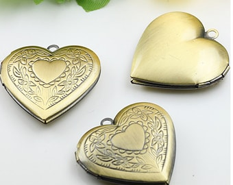10pcs 28mm Antique Bronze Heart Locket Necklace Art Photo Print Jewelry Locket Pendant Gift For Her