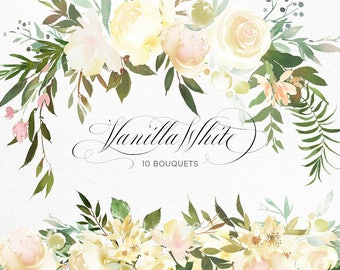 Vanilla White Watercolor Flowers Green Leaves Clipart Peony Roses Floral Bouquets Baby Room Decor Baptism Baby Shower Invitations Wedding