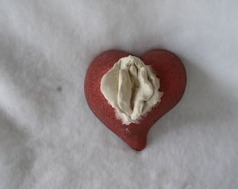 Sculpted Vulva in an Asymmetric Red Glass Heart With Nubby Glitter Finish 127
