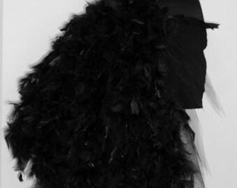 Black Feather Burlesque Bustle Belt size 4 - 10 US 6 - 12 UK