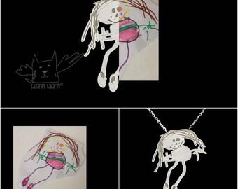 One-of-a-kind personnalisé bijoux, colliers en argent sterling fait sur mesure de dessins de vos enfants, cadeau idéal pour maman