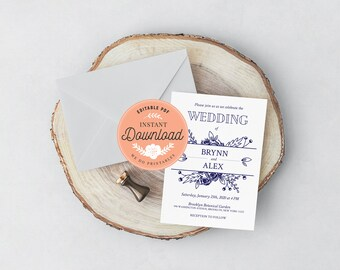 INSTANT DOWNLOAD, Wedding Printable, Printable PDF, Wedding Invitation template, Invitation printable, Wedding Invitation, Diy wedding