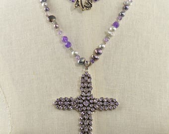 Extra Long Amethyst and Pearl Necklace with Extra Large Amethyst Cross Pendant