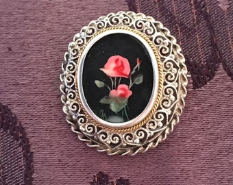 ANTIQUE 1890-1920 SILVER pendant or brooch, painted roses in oval miniature