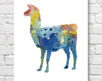 Blue Llama - Art Print - Abstract Watercolor Painting - Wall Decor