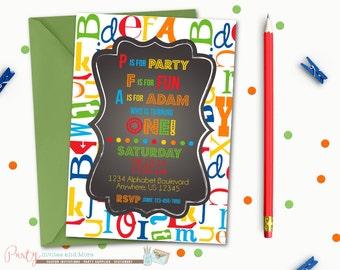 Alphabet Birthday Invitation, First Birthday Invitation, ABC's Birthday Invitation, First Birthday Party, Chalkboard Birthday Invitation