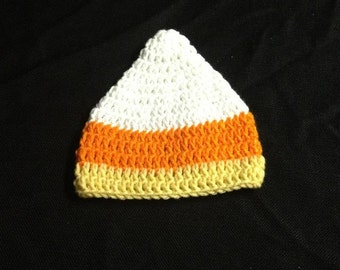 Crocheted Candy Corn Infant Hat Ready to ship!