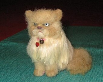 Custom Cat Portrait Sculpture / example Himalayan cat Needle Felted by Fiber Artist GERRY