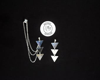 Silver Triangle earrings, Silver earrings, Triangle Chain Earrings, Triangle Earrings,  Silver Triangle Jewelry, Aztec Tribal Style Jewelry