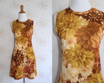 Vintage 90s Mini Dress, 1990s Photo Print Dress, Floral Flower Print, Club Kid, Rave