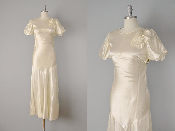 30s Dress // 1930s Ivory Silk Satin Bias-Cut Wedding Gown //