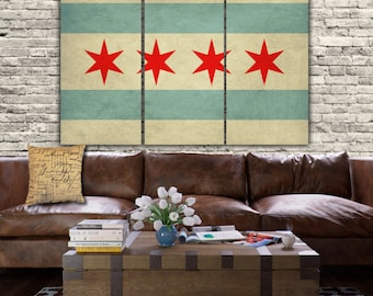 City of Chicago Flag  Art on Canvas - 3 panels. Vintage art, large Canvas Art, Chicago wall art, Chicago canvas