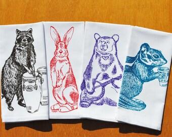 Table Napkins - Screen Printed Cotton - Racconn Rabbit Bear Chipmunk - Hand Printed Washable Reusable - Wedding or Christmas Gift