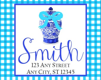 Christmas Address Labels, Chinoiserie Ginger Jar Blue Gingham Square Stickers, Address Labels, Preppy Labels, Bookplate, Class Parties