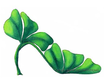Shoe Art Green Shamrock Stiletto Shoe Fine Art Print