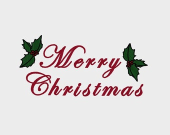 "Merry Christmas embroidery file in Multiple formats to fit 4"" x 4"" hoop - INSTANT DOWNLOAD - Item # 7004"