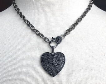 Gunmetal Pave Black Crystal Clasp Choker with Gunmetal Pave Black Crystal Heart Pendant on Gunmetal Texturized Chain