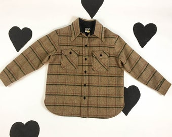 70's early GAP plaid wool flannel button up jacket 1970's oversized rugged top shirt / camping / outdoors / preppy / classic / hiking / M L