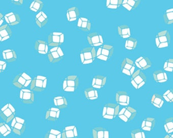 "17"" REMNANT HAPPY HOUR - Ice Cubes in Blue - Cotton Quilt Fabric - Kanvas Studios for Benartex Fabrics - 5318-55 (W3709)"