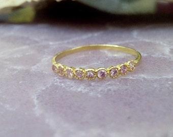 SALE! Rose Quartz Ring,Tiny Ring,Gold Ring ,Slim Stacking Ring,Gemstones Ring,Dainty Ring,October Ring,Pink Ring