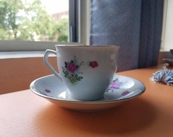 Gold Trim Rose Teacup & Saucer