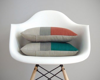 Fall Colorblock Pillow in Natural Linen, Stone Grey & Sienna or Biscay Bay by JillianReneDecor - Modern Home Decor Fall 2015 Pantone FW2015
