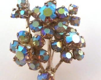 Vintage Rhinestone Flower Brooch, Blue Brooch,  Aurora Borealis Rhinestone,  Floral Brooch.