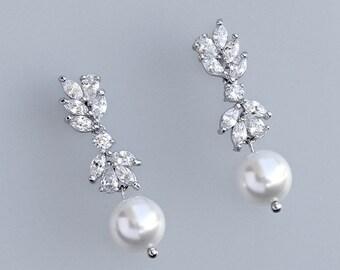 Bridal Earrings, Silver Wedding Earrings, Pearl Drop Earrings, Crystal Chandelier Earrings, ANNIE