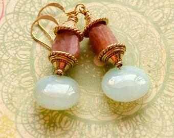 Pagoda Sunstone Earrings, Green Chalcedony Earrings, Lantern shaped Green Earrings, Gemstone Jewelry, Asian Green and Orange Earrings, SRAJD