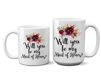 Maid of Honor, Proposal, Ask Gift, Coffee Mug, Gift Ideas, Keepsake, Mug, Gift, Question, Thank You Gift, Unique Gift, For Her, Best Friend