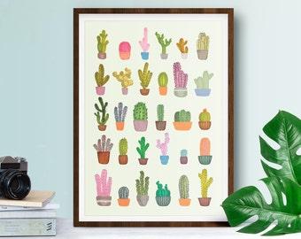 Cactus Print - A4, A3 Wall Art - Tropical - Botanical - Cacti - Cactus Art Print - Tropical Decor - Floral Print