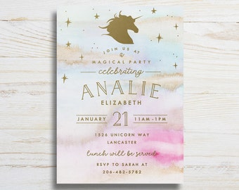 Magical Unicorn, Printable Birthday Invitation