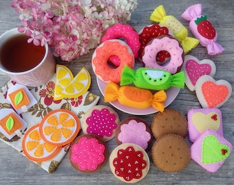 Felt sweets Big set Tea Party Felt Food Donuts Cookies Candys Box set of felt food Pretend Play Toy food Play food Play kitchen Kids gift