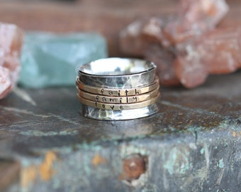 Hand stamped Triple gold band on sterling silver spinner ring mothers ring