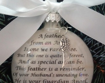 """In Memory of HUSBAND Memorial Ornament w/ Angel Wing Charm """"A Feather From a Guardian Angel"""" Sympathy Gift for Widow Loss of spouse Heaven"""