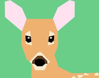 White-tailed Deer Fawn paper-piecing pattern, PDF