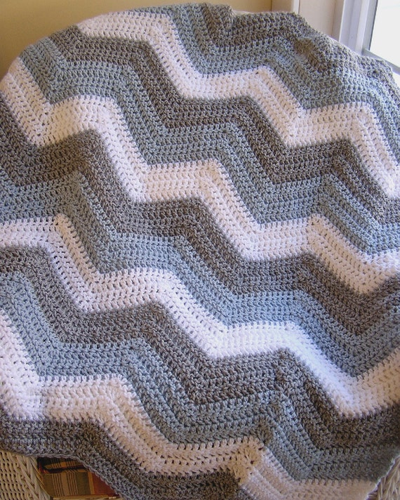 Crochet Handmade Chevron Ripple Zigzag Baby Blanket Afghan