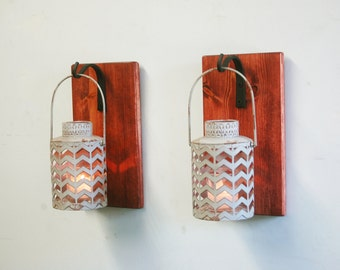 Shabby Chic Gray Lantern Pair CANDLES INCLUDED on stained wood board for unique wall decor, home decor, bedroom decor