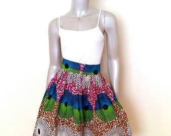 Multicolor Circles African Wax Print Skirt