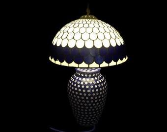 Shabby Chic Lighting, Boleslawiec, Polish Pottery, Stained Glass Lamp, Folk Art Pottery, Table Lamp, Home Decor, Desk Lamp, Bedside Lamp