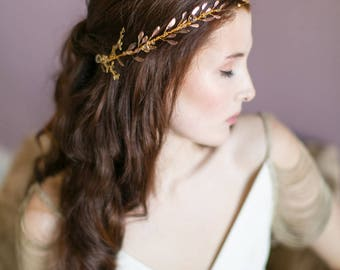 Gold Dust Ethereal Wedding Halo Headpiece, Bridal Hair Vine, Crown, Circlet